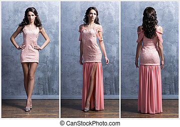 Young and beautiful woman in a fashion dress - Young and...