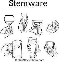 vidrio, diferente, Conjunto,  Stemware, mano
