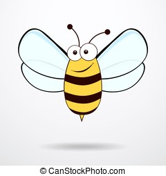 Bee illustration - Bee on white background Flat icon of bee...