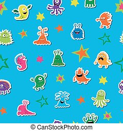 Seamless template with cute aliens