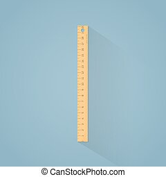 Ruler flat illustration - Flat illustration. Wooden ruler...
