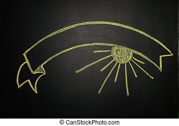 Ribbon Banner, painting with chalk on a blackboard