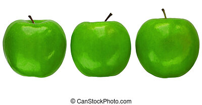 Three Granny Smith apples  - Three Granny Smith apples