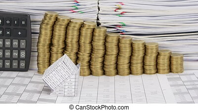 Bankruptcy house have step gold coins and calculator time lapse