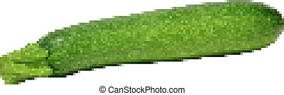 Retro pixel zucchini - courgette, isolated on white - Retro...