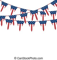 America triangle flag garland on white vector background