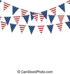 America triangle flag garland. Vector background