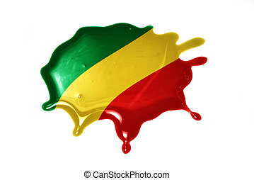 blot with national flag of republic congo on the white...