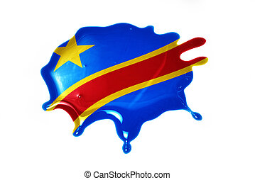 blot with national flag of democratic republic of the congo...