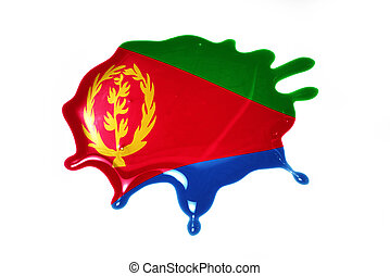 blot with national flag of eritrea on the white background