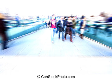 Abstract people in rush hour - people blurred rushing in...