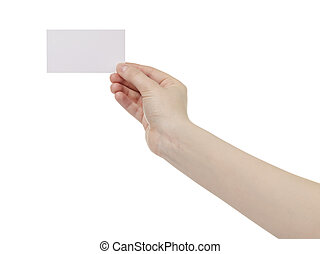 young female right hand hold blank white paper card,...