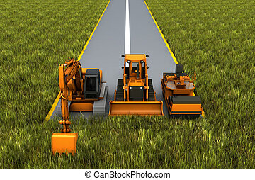 Road construction. Road machinery on the road in the grass....