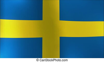 A beautiful satin finish looping flag animation of Sweden 4K...