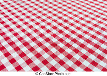 Checked red and white tablecloth