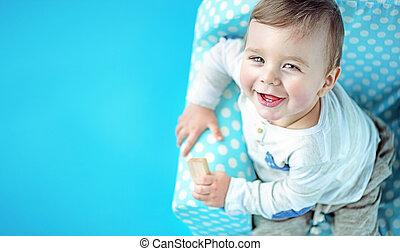 Closeup portrait of a cute litle boy - Closeup portrait of a...