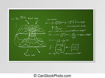 formula and graph on a board