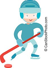 Hockey player boy cute pretty tough confident smiling male winter sport character.