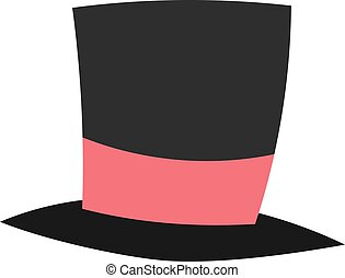 Magic conjurer cylinder hat illusionist trick flat cartoon -...