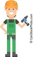 Repair serviceman with tool screwdriver maintenance repair...