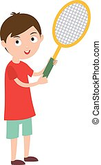 Good looking tennis player prepared for active game, action sport competition cartoon.
