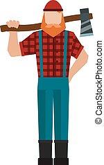 Lumberjack, woodman, woodcutter an ax carpenter joiner,...