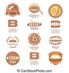 Collection of vector bakery logos