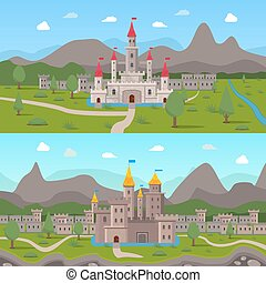 Medieval Ancient Castles Compositions - Two horizontal...