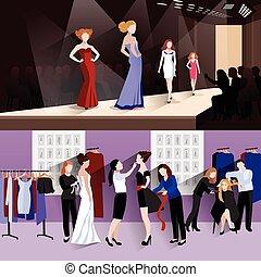 Fashion model banner set - Fashion model horizontal banner...