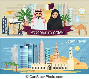 Qatar Banner Set - Qatar banner set with national symbols of...