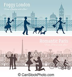 London And Paris Banners Set - Foggy London and romantic...
