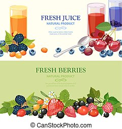 Fresh Berries 2 Flat Banners Set - Best wild and garden...