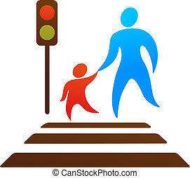 Parent and child crossing the street - Pictogram of parent...