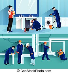 Two Plumber Horizontal Compositions - Two plumber horizontal...