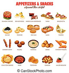 Appetizers and Snacks Icons - A vector illustration of...