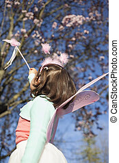 Little Girl in fairy costume outdoor