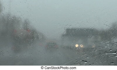 Motorway in bad weather - Driving on a highway in bad stormy...