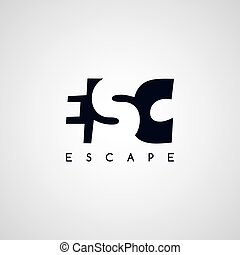 escape letter theme logotype vector art illustration