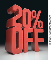 20 Off - 3D image concept Discount percentage in red on...