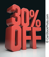 30 Off - 3D image concept Discount percentage in red on...