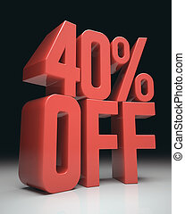 40 Off - 3D image concept Discount percentage in red on...
