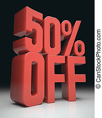 50% Off - 3D image concept. Discount percentage in red on...