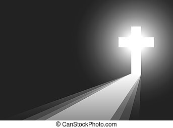 Black background with Cross and rays illustration. - Cross...