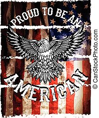 American flag and eagle grunge