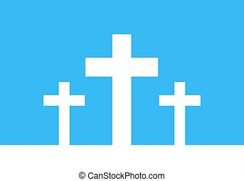 White cross icon illustration Simple Christian cross sign...