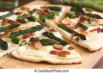 Asparagus and Bacon Tarte Flambee - Green asparagus and...