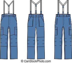 Pants with braces - Vector illustration of work pants with...