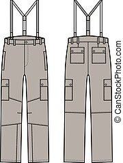Work pants with braces - Vector illustration of pants with...