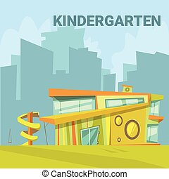 Kindergarten Cartoon Background - Kindergarten modern...