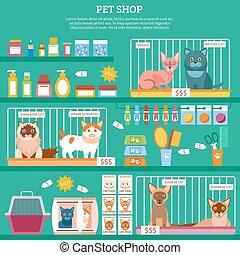 Cats concept illustration - Pet shop concept with flat cat...